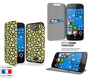 Smiley seamless Collection Pattern Funda de Cuero para Acer Liquid Jade primo Flip Case Cover (Estuche) - FUNDA SOPORTE / PU Cuero - Accesorios Case Industry Smart Magnet