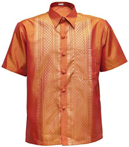 navasilk Men's Shirt Short Sleeve Thai Silk Traditional Straight Collar (S, Orange) (Clothes Silk Thai)
