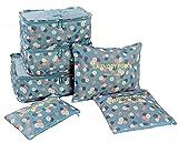 YH Pretty 6pcs Packing Cubes Set Travel Luggage Organizer Bag 3 Cubes 3 Pouches