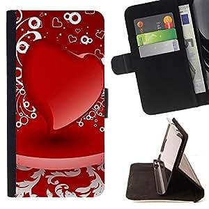 - D red heart - - Monedero PU titular de la tarjeta de cr????dito de cuero cubierta de la caja de la bolsa FOR Sony Xperia M2 RetroCandy