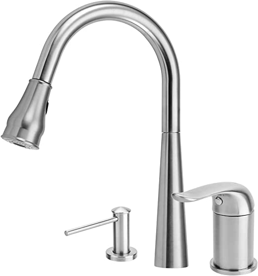 Kitchen Faucet with Soap Dispenser,Kitchen Faucets with Pull Down  Sprayer,304 Stainless Steel Brushed Nickel 3 Hole Kitchen Faucet with 17 OZ  Sink ...