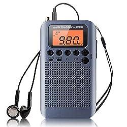 Portable Pocket Radio Mini AM FM Radio Personal Digital Tuning Stereo Radio Compact Transistor Radio with Earphones Alarm Clock and Sleep Timer Battery Operated LCD Display for Walk Jogging (Gray)