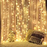 ALOVECO Window Curtain String Lights, 9.8 x 9.8ft 300 LED Icicle Fairy Twinkle String Lights, 8 Remote Modes, 29V UL Listed for Wedding Party Home Garden Bedroom Outdoor Indoor Wall Decorations