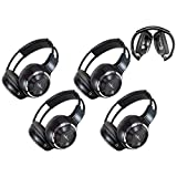 Cheap 4 Pack of Key Audio IR Wireless Two-Channel Foldable Headphone, Two Channel Folding Adjustable Universal Rear Entertainment System Infrared Headphones for in Car TV Video Audio Listening