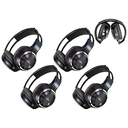 4 Pack of Key Audio IR Wireless Two-Channel Foldable Headphone, Two Channel Folding Adjustable Universal Rear Entertainment System Infrared Headphones for in Car TV Video Audio Listening