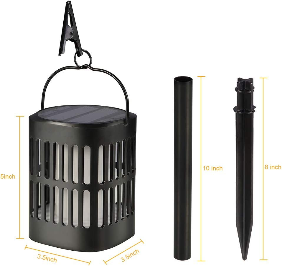 IDEALHOUSE Solar Lantern Lights Waterproof Flickering Flame Hanging Lantern USB Rechargeable with 2 Lighting Mode Landscape Decorative for Garden Patio Deck Yard Path