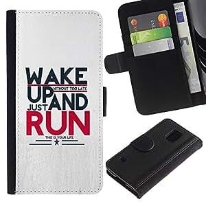 A-type (Wake Up And Run Mensaje) Colorida Impresión Funda Cuero Monedero Caja Bolsa Cubierta Caja Piel Card Slots Para Samsung Galaxy S5 V SM-G900