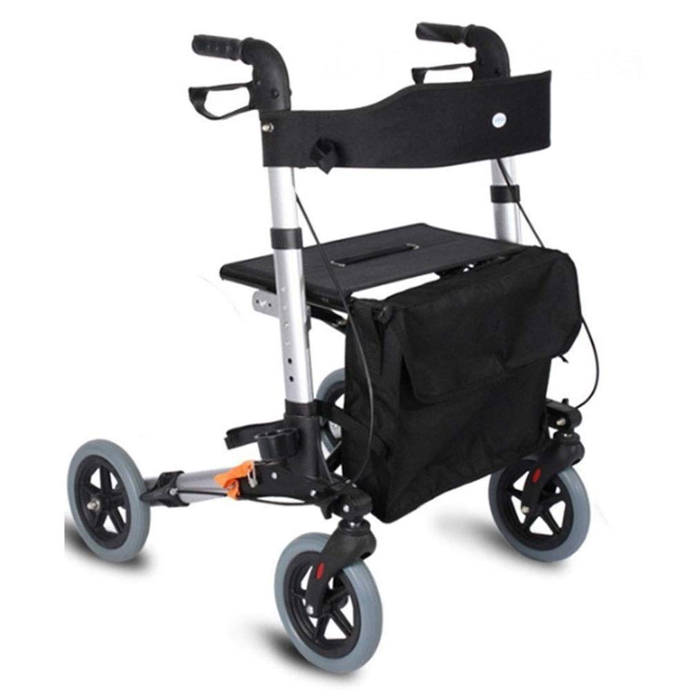 Drive Four Wheel Rollator with Fold Up Removable Back Support,Adjustable Handle Height Includes Basket with Lockable Brakes Seniors Auxiliary Walking Safety Walker by YL WALKER