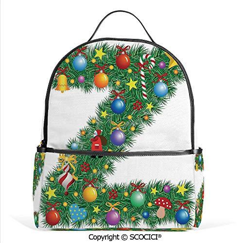 All Over Printed Backpack Traditional Themed Font Design Z with Colorful Ornaments Christmas Santa Claus Decorative,Multicolor,For Girls Cute Elementary School Bookbags ()
