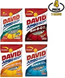 David Jumbo Sunflower Seeds Variety Pack - 5 Flavors of Davids Sun Flower Seeds: Ranch, BBQ, Jalapeno Hot Salsa, and Low Salt Reduced Sodium Flavor - BASED BOX Bundle (5.25oz Bag, Pack of 4)