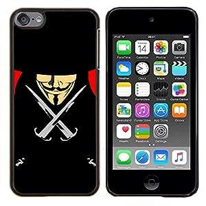 """Be-Star Único Patrón Plástico Duro Fundas Cover Cubre Hard Case Cover Para iPod Touch 6 ( Vendetta Anonymous Anon Negro Libertad"""" )"""