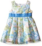 Sweet Heart Rose Little Girls Striped Organza Box Pleated Dress with Blue Ribbon at Waist, White/Multi, 2