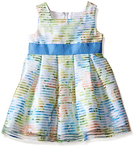 Sweet Heart Rose Girls' Striped Organza Box Pleated Dress with Ribbon at Waist