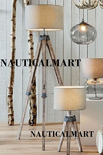 Wooden Tripod Table Lamp Classical Industrial Floor Lamp- Set Of Two