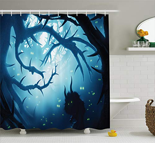 Ambesonne Mystic Shower Curtain, Animal with Burning Eyes in The Dark Forest at Night Horror Halloween Illustration, Cloth Fabric Bathroom Decor Set with Hooks, 70