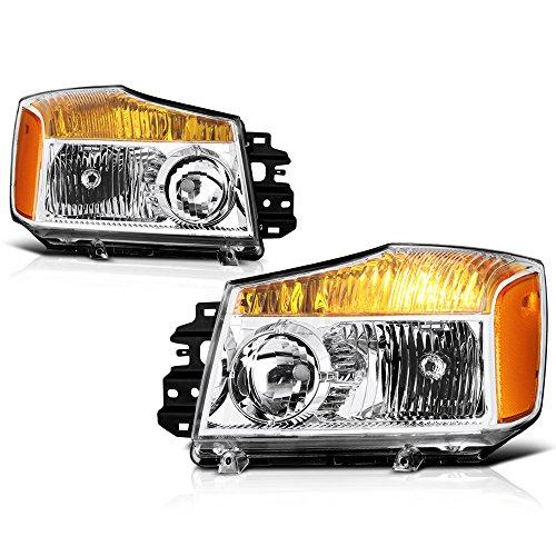 VIPMOTOZ Chrome Housing New OE-Style Headlight Headlamp Assembly For 2004-2015 Nissan Titan & 2005-2007 Armada, Driver & Passenger Side ()