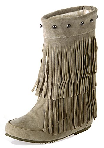 Studded Short Boot - Aisun Women's Casual Fringed Studded Pull On Short Boots Round Toe Elevator Low Heels Ankle Booties with Fringe (Beige, 8 B(M) US)
