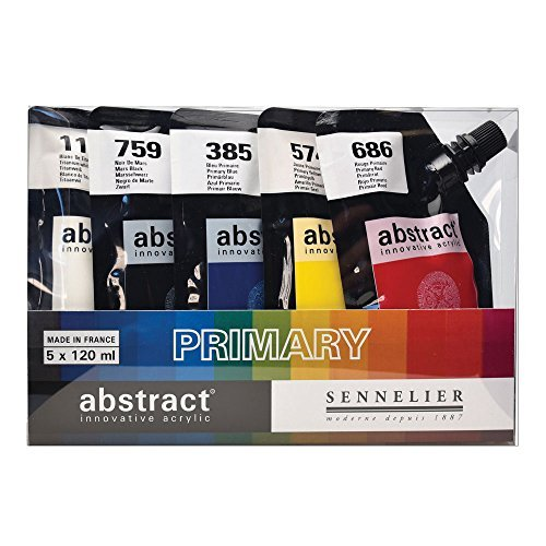 Sennelier Etude Abstract Acrylic Paint, Assorted Primary Colors, Set of 5