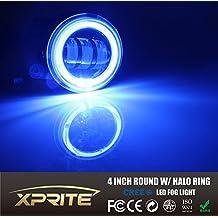 "Xprite 4"" 60W LED Fog Lights with Halo DRL for Jeep Wrangler 1997-2017 JK TJ LJ (Blue, Pair)"