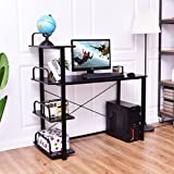 Best 2017 Study Wooden Table Or Computer / Laptop Desk Furniture with 4-tier Shelf Storage for Home Office And Bedroom Space, Black