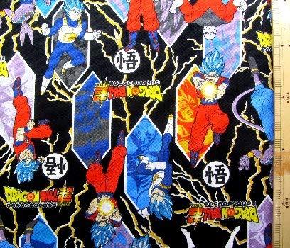 ドラゴンボール超(スーパー) 4点(体操服袋・給食袋・弁当袋・コップ袋) が作れる材料セット(黒)#4レシピ付き(ロープの色は黒となります)<初心者でも簡単なキャラクター生地セットです!>(キャラクター 材料キット パーツ ピロル)