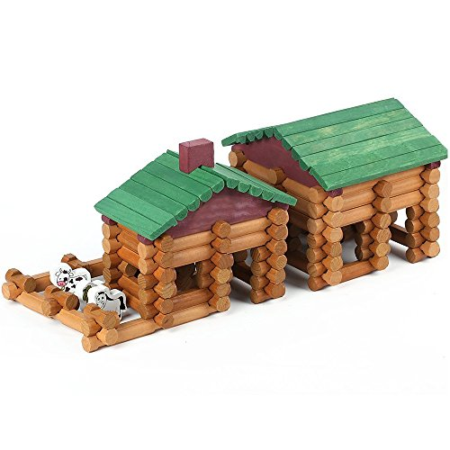 Joqutoys Wood House Logs Construction Building Set Preschool Education Toys for Kids 170 Piece (Frontier Building Set)