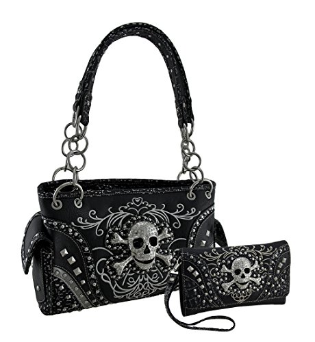 Rhinestone Skull Metallic Trim Concealed Carry Purse/Wallet Set Black