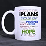 11 Ounces Bible Verse Mug – Jeremiah 29:11 For I Know The Plans I Have For You Coffee Tea White Mugs Cup