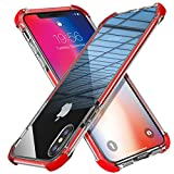 iPhone X case, iPhone 10 Case, MATEPROX Shield Heavy Duty Protective, Anti-Yellow/Anti-Scratch/High Clear PC Back Cover (Non-TPU Back), Rubber Bumper Shockproof case for iPhone X (2017)-Red