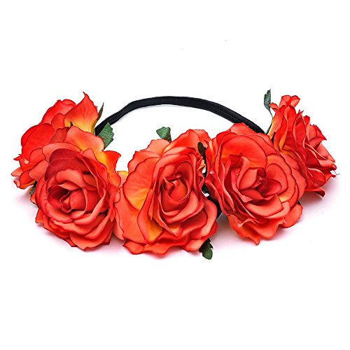 DreamLily Women's Hawaiian Stretch Flower Headband for Garland Party BC12 (Orange) (Hawaiian Party Dress)