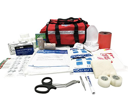 LINE2design First Aid Kit - EMS EMT Paramedic Rescue Emergency Fully Stocked Professional Medical Supplies Trauma First Responder Kit - Red -