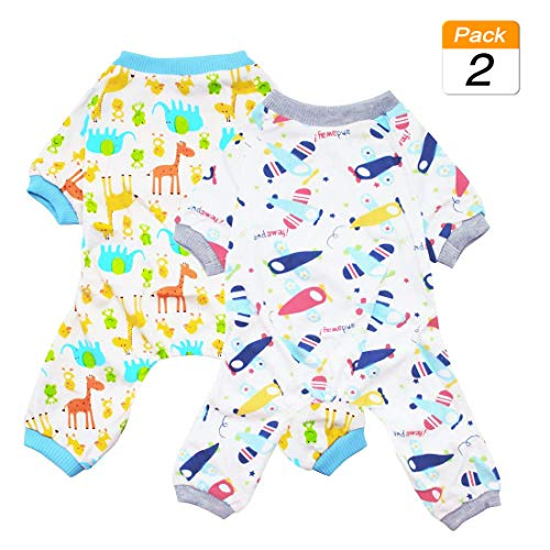 Scheppend 2-Pack Pet Clothes Puppy Cute Pajamas Dogs Cotton Rompers Cats Jumpsuits Cosy Apparel Dog Shirt Small Canine Costumes, Plane & Giraffe L for $<!--$14.79-->