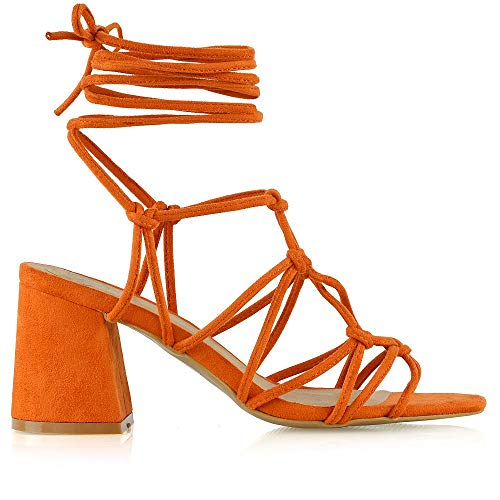 - ESSEX GLAM Womens Lace Up Sandals Ladies Orange Faux Suede Low Mid Block Heel Strappy Caged Heels Shoes Size 5 B(M) US