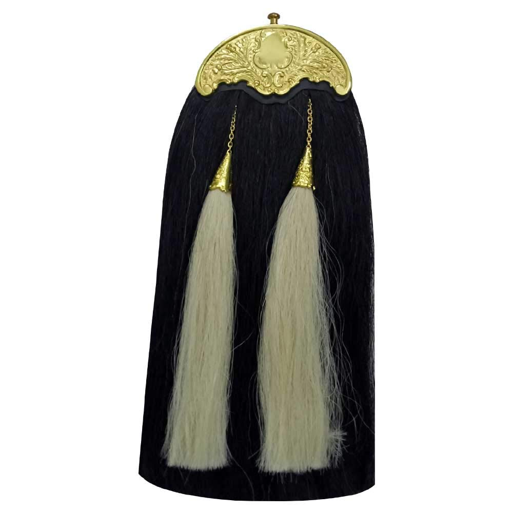 CT Men's Scottish Kilt Sporran Original Horse Hair Black & White Various Cantle Finish/Highland Full Dress Sporrans Real Leather (Black & White Hair Antique Cantle) Clan Tartan