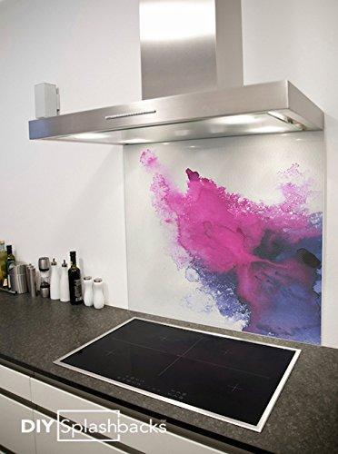 Crédence de cuisine en Verre Imprimé Aquarelle Violette 90cm x ...