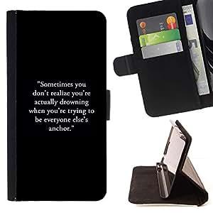 Momo Phone Case / Flip Funda de Cuero Case Cover - Texte noir - HTC One A9