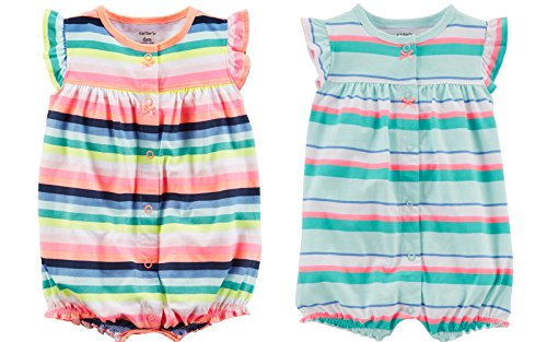 Carter's Baby Girl's 2 Pack Cotton Romper Creeper Set (24 Months, Cool Stripes Crab and Warm Stripes Butterfly)