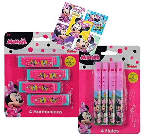 Disney Minnie Mouse Musical Treat Bag Party Favor Set! Includes 4 Mini Harmonicas & 4 Mini Flutes! Plus (8) Minnie Mouse Character Stickers! ()