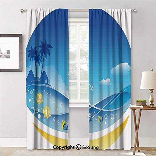 RWNFA Curtains Window for Living Room,Exotic Sea Waves in Fauna Frame with Gulls and Coconut Trees Journey Blue Yellow,Curtain Panels and Drapes,42x63inch Each,2 Panels