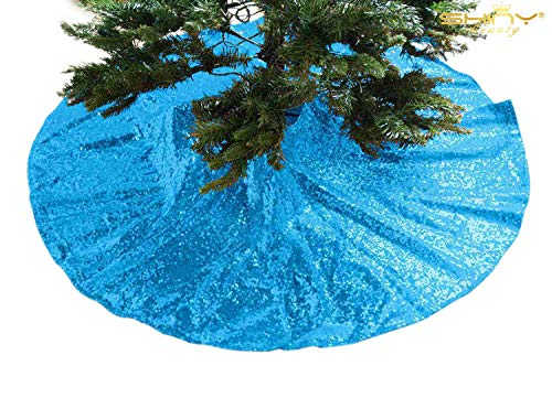 ShinyBeauty Embroidered and Sequined Holiday-Turquoise-Sequin Tree Skirt-24Inch Christmas Tree Skirt Polyester Aqua Blue Christmas Tree Skirt Christmas Decorations (Turquoise) ()