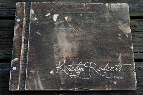 Special Request Distressed Wooden Birch Portfolio WITH 10 Sheet Protectors & Custom Engraving by Infused Motif