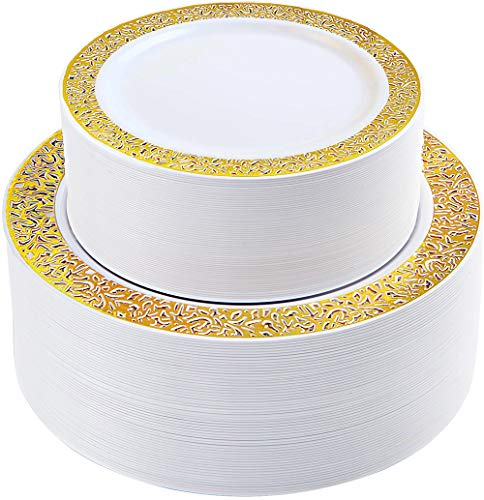 IOOOOO 120 Pieces Gold Plastic Plates, Lace Design Disposable Plates, Heavyweight Wedding Plates Includes: 60 Dinner Plates 10.25 Inch and 60 Dessert Plates 7.5 Inch