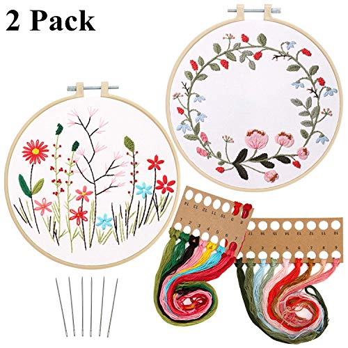 2 Pack Embroidery Kit with Pattern, Full Range of Stamped Embroidery Starter Kit for Hand Sewing Craft Including Patterned Embroidery Cloth, Embroidery Hoop, Colored Threads and Needles