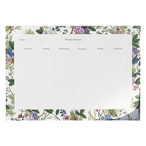 V & A Cream Floral 80 Sheet Weekly Desk to Do Notepad (AVAM071)