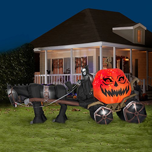 Gemmy Inflatable Reaper & Carriage with Sound Standard
