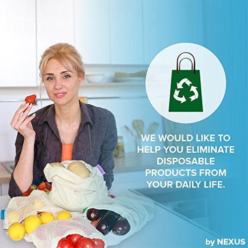 Reusable Produce Bags ECO by NEXUS, Set of 11 - Washable Mesh Grocery Bags for Shopping, Storage and Organization - Tare Weight Labels and Drawstring Closure - 100% Cotton, Plastic-Free Packaging by ECO by NEXUS (Image #7)
