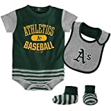 OuterStuff MLB Infant Boys Striped Onesie, Bib & Bootie Set