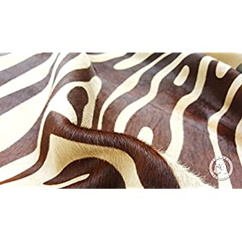 Zebra Brown on Beige Cowhide Rug, Large Size 6ft. x 7ft. 180cm x 210cm - Brazilian Top Quality