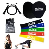 Core Sliders Gliding Discs Exercise 5 Resistance Bands and Speed Jump Rope with Carry Bag Fitness Equipment Home Intense, Low-Impact Exercises to Strengthen Core, Glutes Abs, Elite Athletic Set