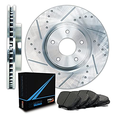 Max TA002311 Front Silver Slotted & Cross Drilled Rotors and Carbon Metallic Pads Combo Brake Kit - Honda Civic 2dr Carbon